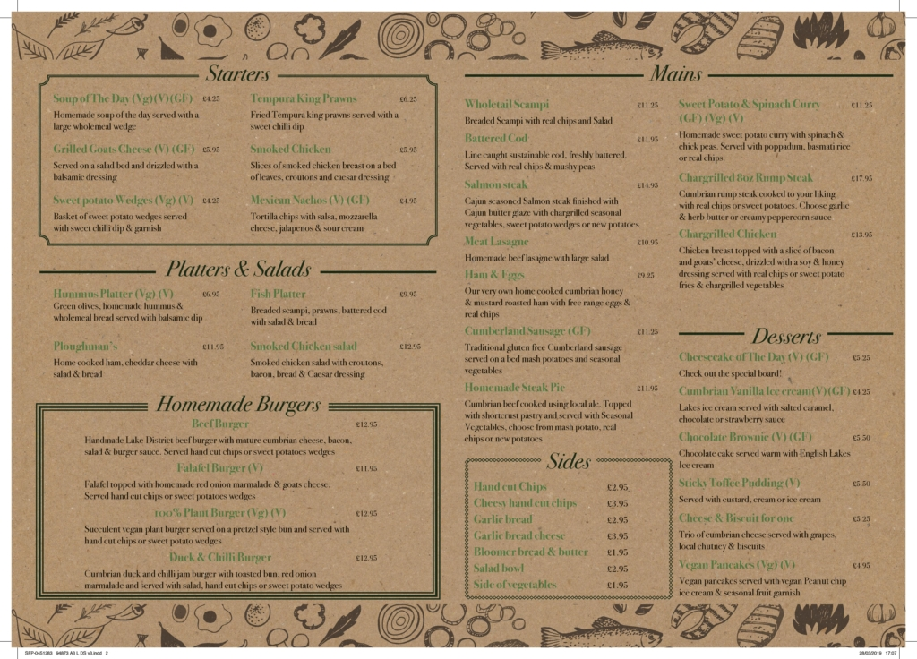 Picture of menu from The Swinside Inn