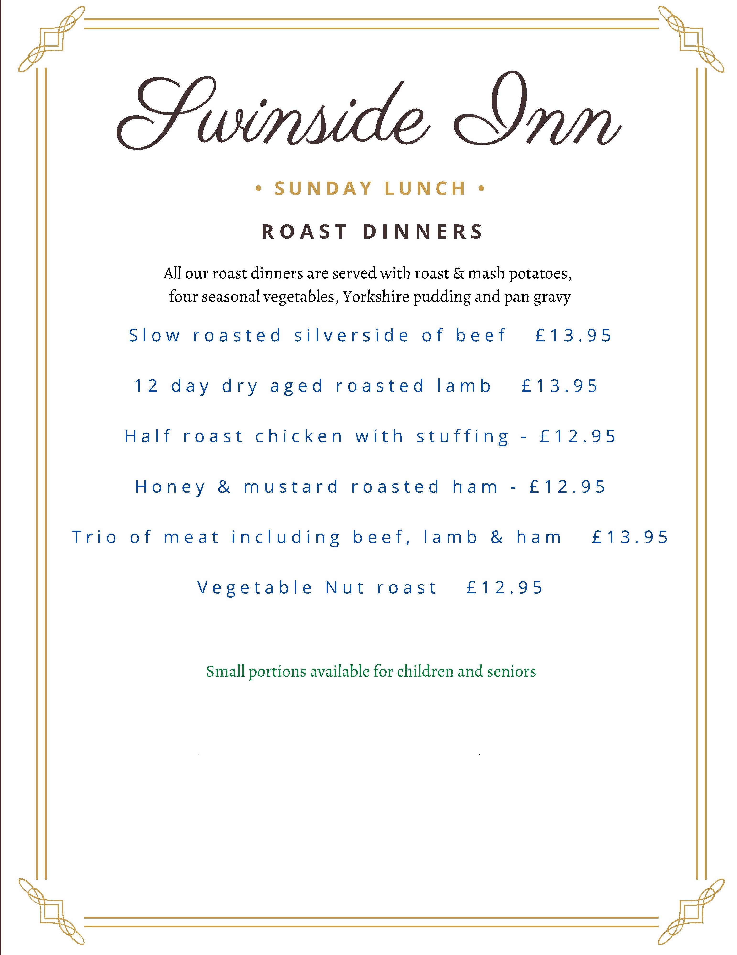 photo of Sunday menu at The Swinside Inn